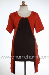 baju menyusui pendek bolero lipit orange  SD 183  large